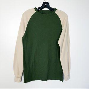 Galaxy Waffle Knit Contrast Sleeve Baseball Shirt